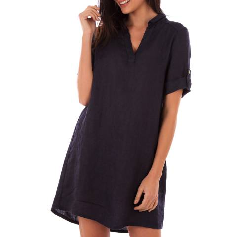 LIN PASSION Navy Rolled Sleeves Linen Dress