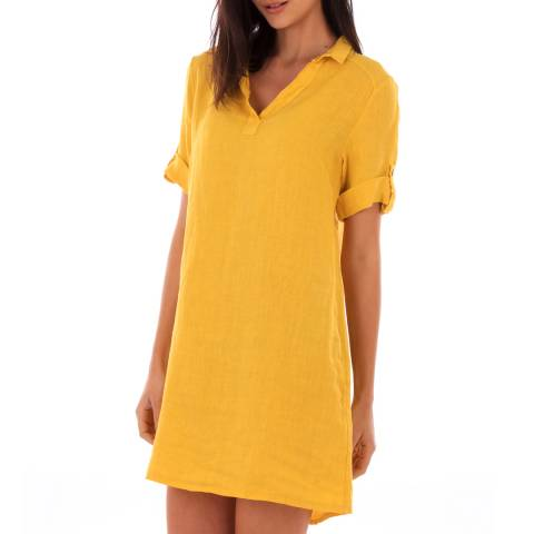 LIN PASSION Yellow Rolled Sleeves Linen Dress