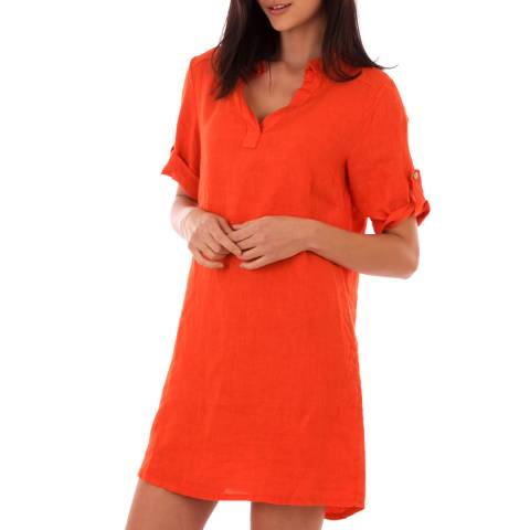LIN PASSION Orange Rolled Sleeves Linen Dress
