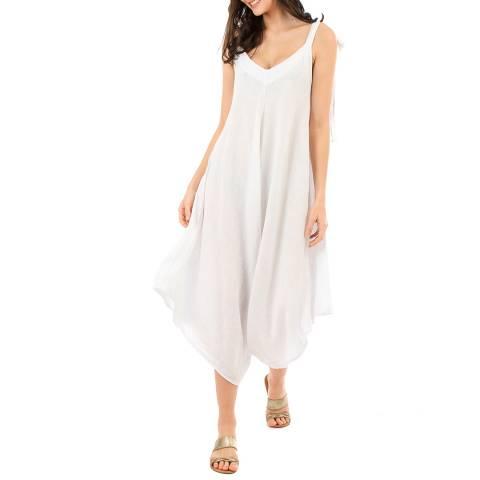LIN PASSION White V Neck Linen Jumpsuit