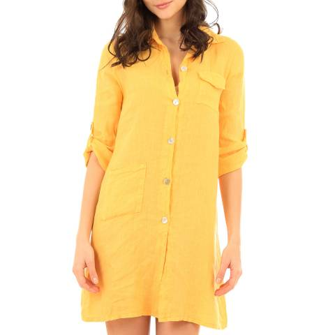 LIN PASSION Yellow Mini Buttoned Linen Dress