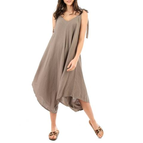LIN PASSION Taupe V Neck Linen Jumpsuit