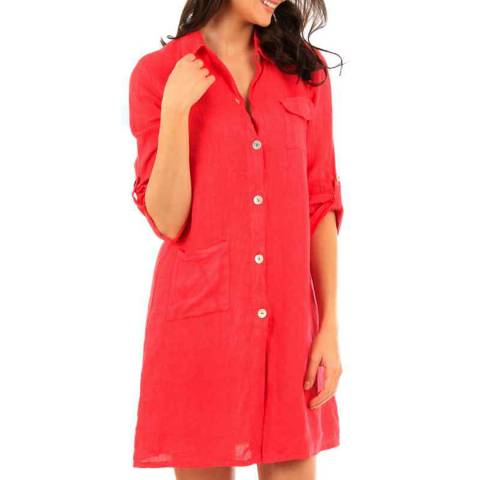 LIN PASSION Fuchsia Mini Buttoned Linen Dress