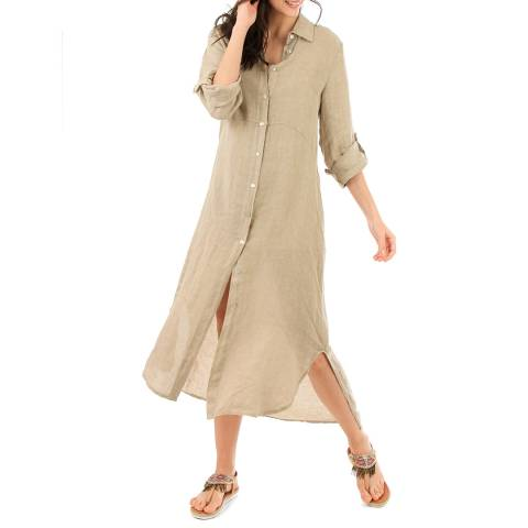 LIN PASSION Beige Buttoned Maxi Linen Dress