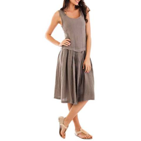 LIN PASSION Taupe Round Neck Linen Dress