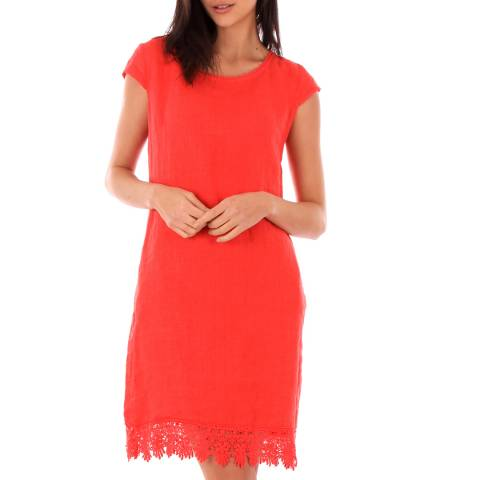 LIN PASSION Red Lace Linen Dress