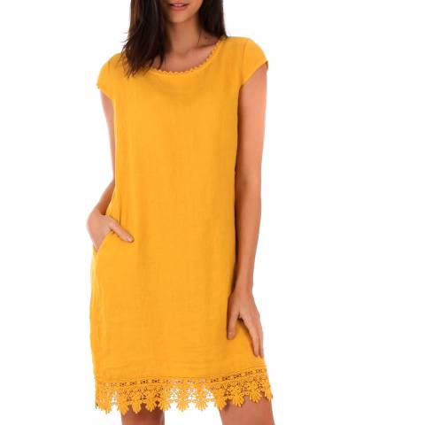 LIN PASSION Yellow Lace Linen Dress