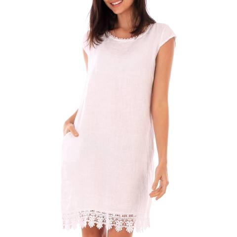 LIN PASSION White Lace Linen Dress