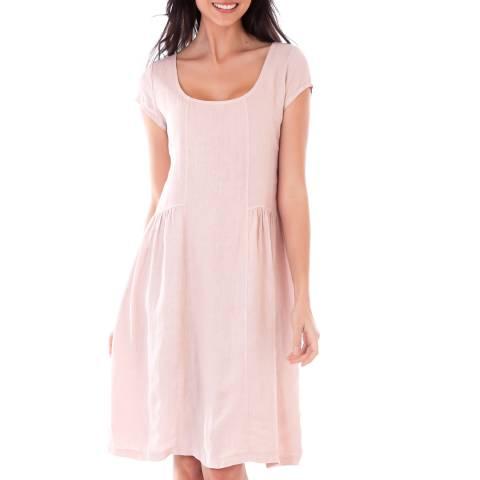 LIN PASSION Pink Short Sleeve Linen Dress