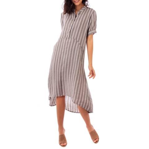 LIN PASSION Beige Midi Linen Dress