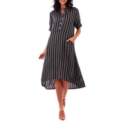 LIN PASSION Dark Grey Midi Linen Dress