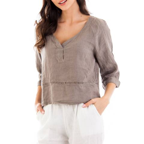 LIN PASSION Taupe Short Sleeve Linen Top