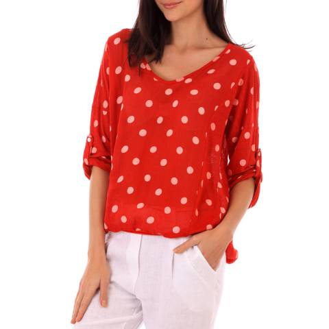 LIN PASSION Red Polka Dot Linen Blouse