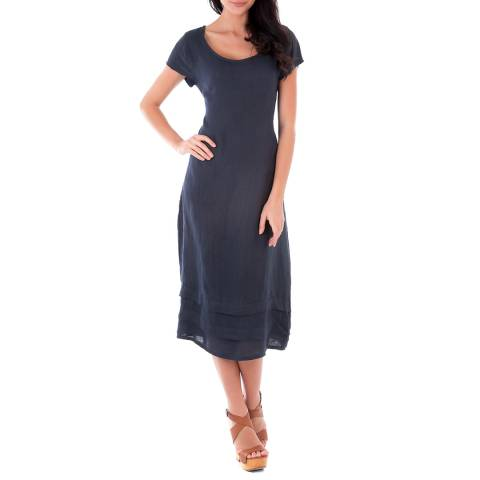 LIN PASSION Navy Midi Linen Dress