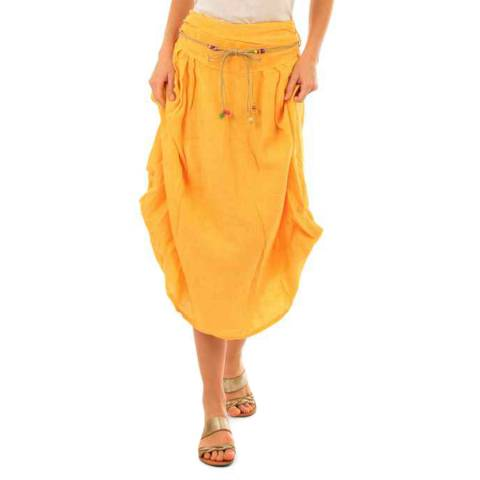 LIN PASSION Yellow Relaxed Linen Skirt