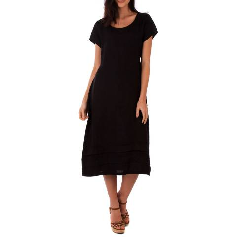 LIN PASSION Black Midi Linen Dress