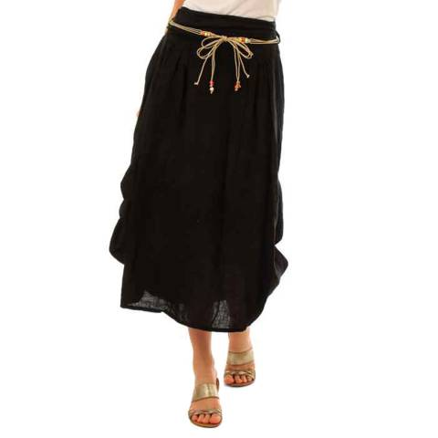 LIN PASSION Black Relaxed Linen Skirt