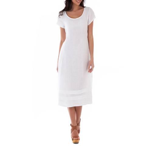 LIN PASSION White Midi Linen Dress