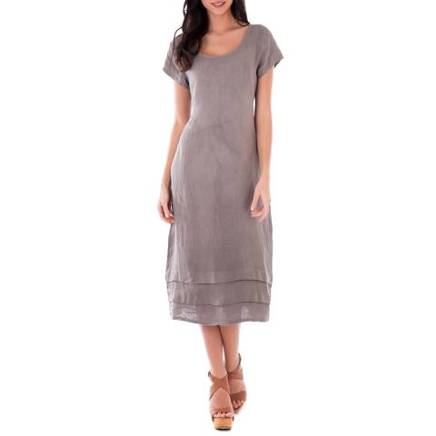 LIN PASSION Taupe Midi Linen Dress