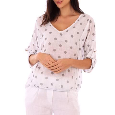 LIN PASSION White Polka Dot Linen Blouse