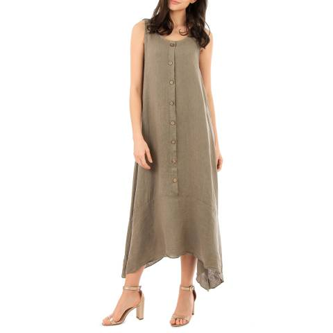 LIN PASSION Taupe Round Neck Maxi Dress
