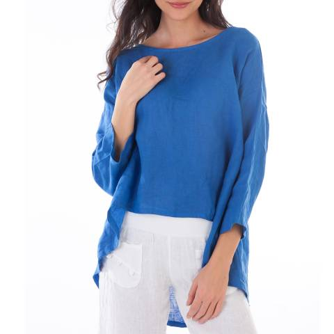 LIN PASSION Blue 3/4 Sleeves Linen Blouse
