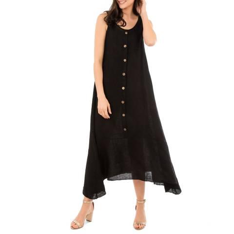 LIN PASSION Black Round Neck Maxi Dress