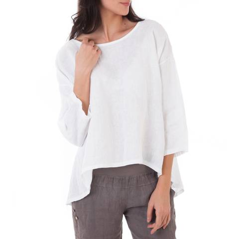 LIN PASSION White 3/4 Sleeves Linen Blouse