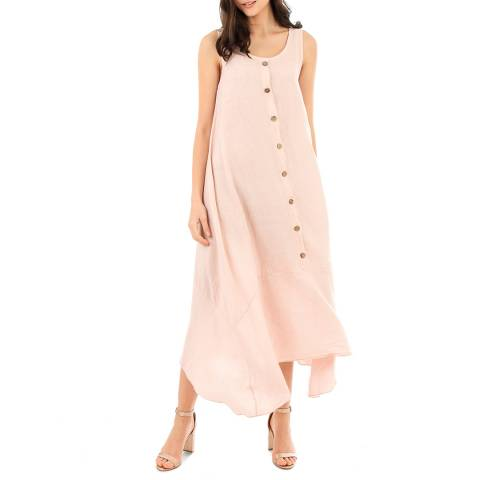 LIN PASSION Pink Round Neck Maxi Dress