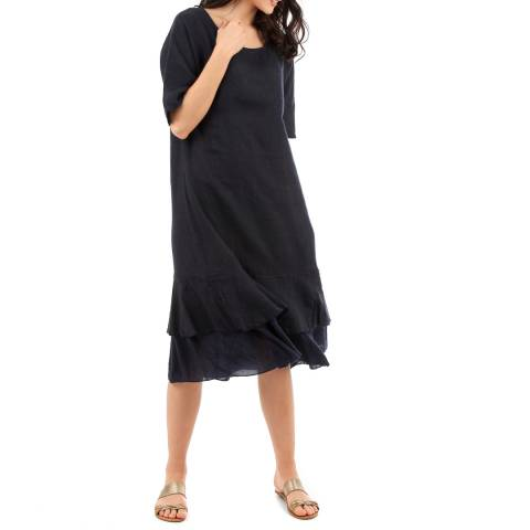 LIN PASSION Navy Linen Midi Dress