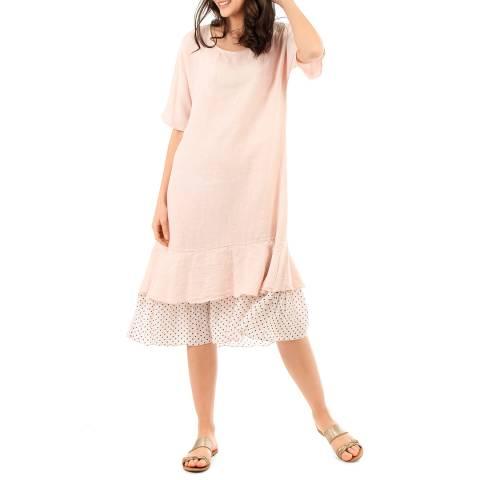LIN PASSION Pink Linen Midi Dress