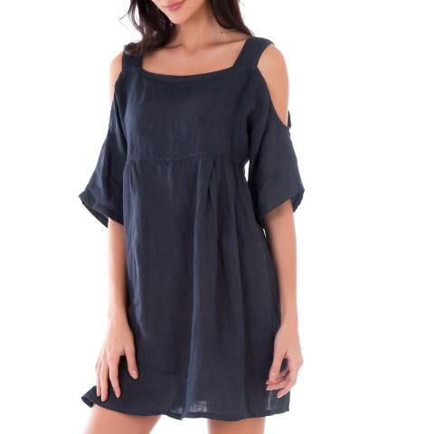 LIN PASSION Navy Cold Shoulder Linen Dress