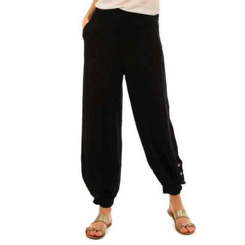 LIN PASSION Black Relaxed Linen Trousers