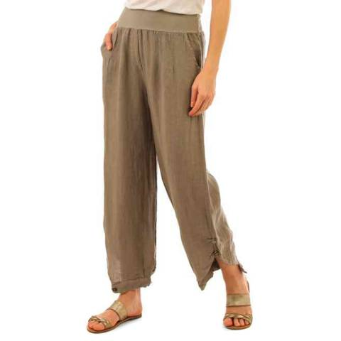 LIN PASSION Taupe Relaxed Linen Trousers