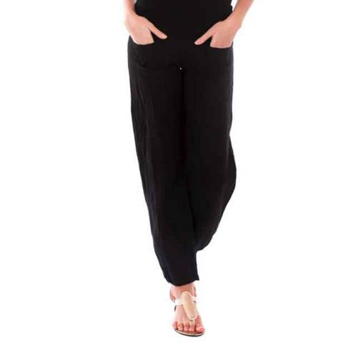 LIN PASSION Black Wide Leg Linen Trouser