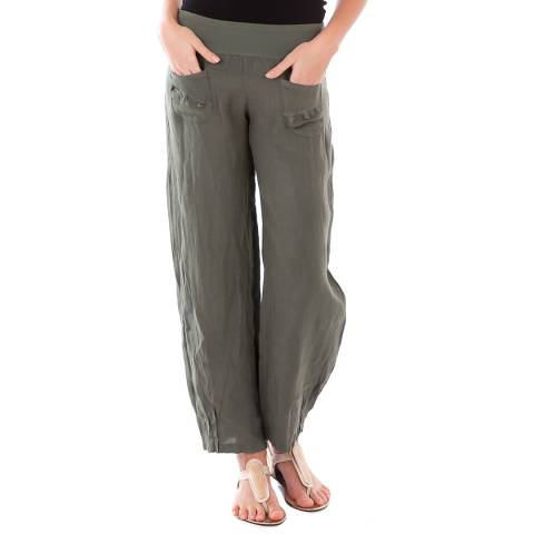 LIN PASSION Khaki Wide Leg Linen Trouser