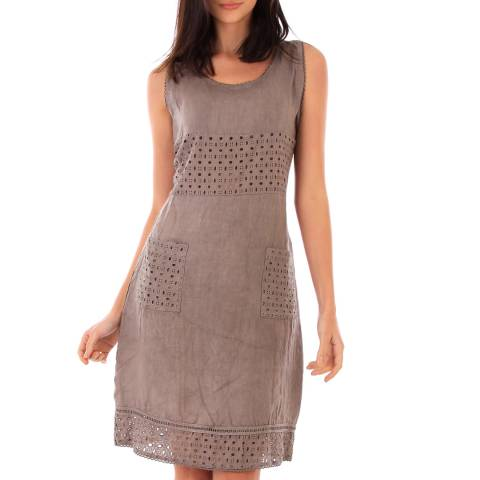 LIN PASSION Taupe Mini Linen Dress