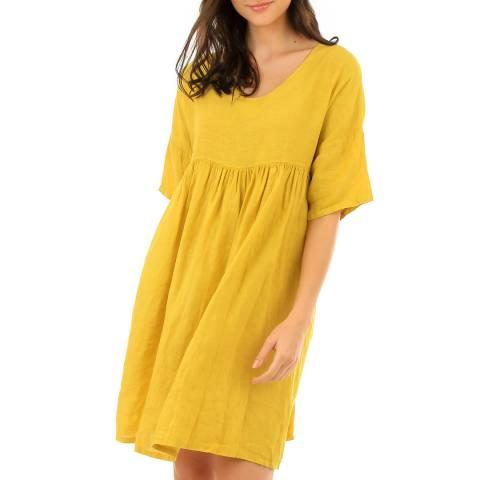 LIN PASSION Yellow Mini Linen Dress