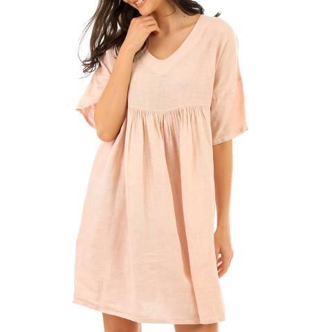 LIN PASSION Pink Mini Linen Dress