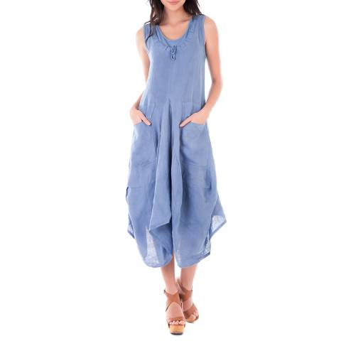 LIN PASSION Blue Midi Linen Dress
