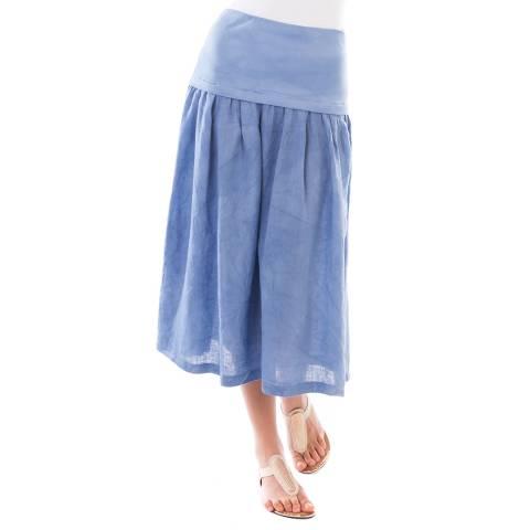 LIN PASSION Blue Midi Linen Skirt