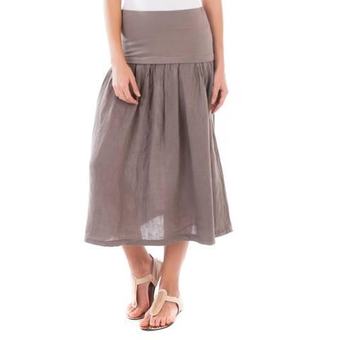 LIN PASSION Taupe Midi Linen Skirt