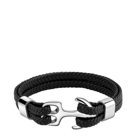 Stephen Oliver Silver Plated Anchor Black Leather Bracelet
