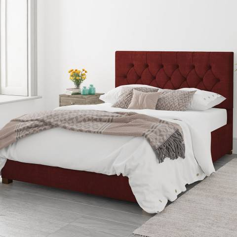Aspire Furniture Double Luxury Linen Ottoman Bed, Bordeaux