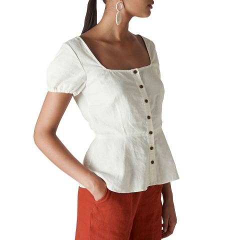 WHISTLES Ivory Alana Waisted Linen Top