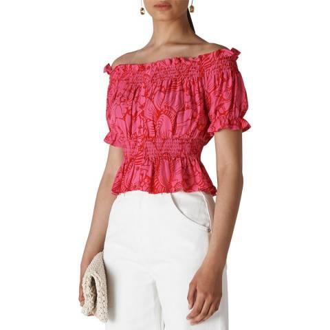 WHISTLES Pink Sunflower Print Bardot Top