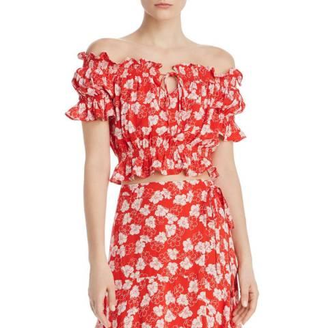 WHISTLES Red Floral Garland Bardot Top
