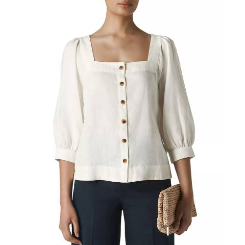 WHISTLES White Square Neck Linen Blouse