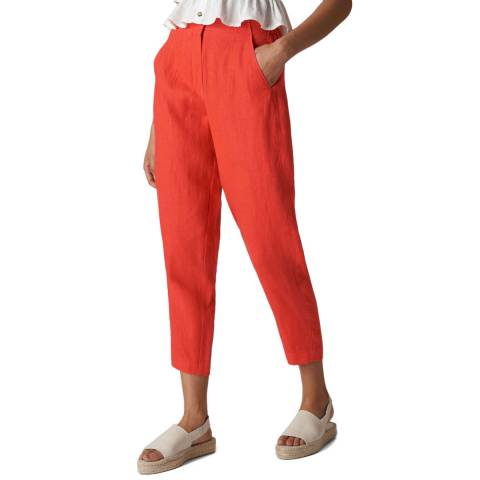 WHISTLES Red Barrel Linen Trousers