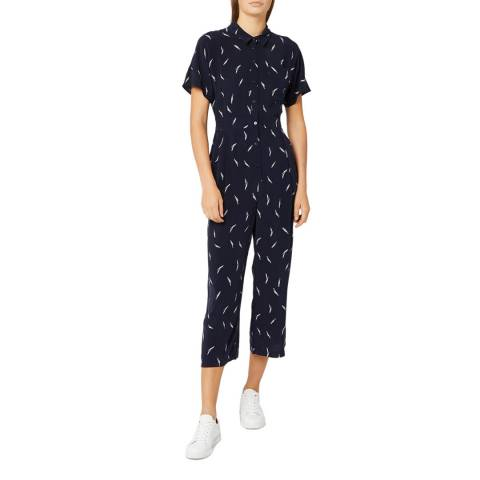 WHISTLES Navy Brushstroke Print Jumpsuit